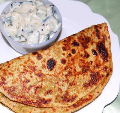 Gobi Parathas With Zucchini Raita