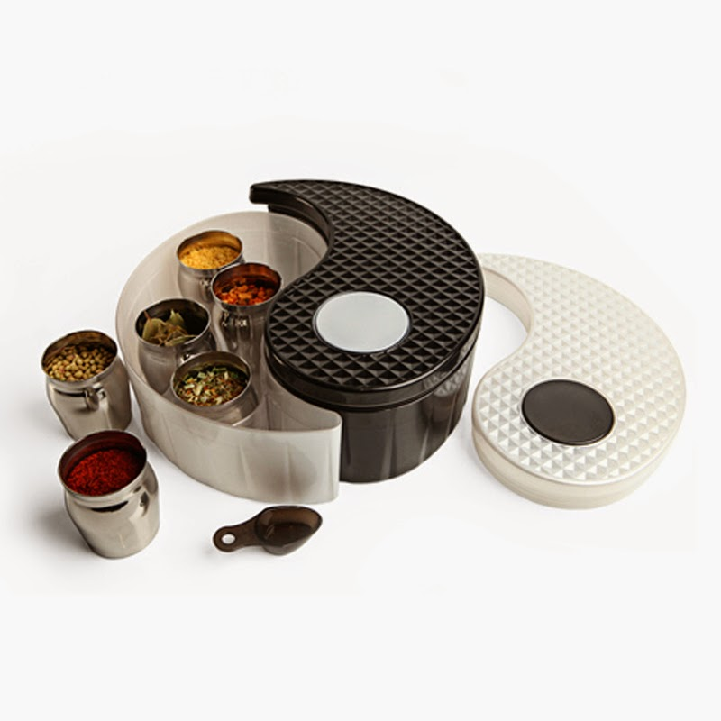 Yin Yang Storage Bin Set in black and white filled with spices