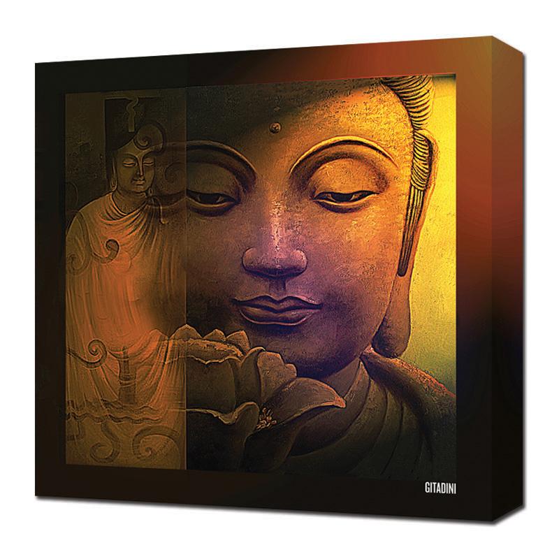 Canvas wall art buddha collage gitadini for Buddha wall art