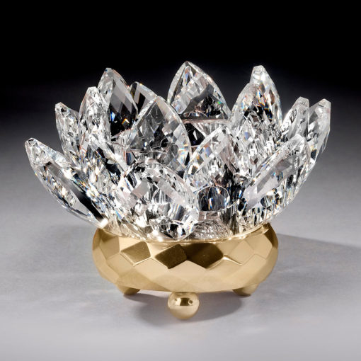 Crystal Lotus Votive Holder - Gold