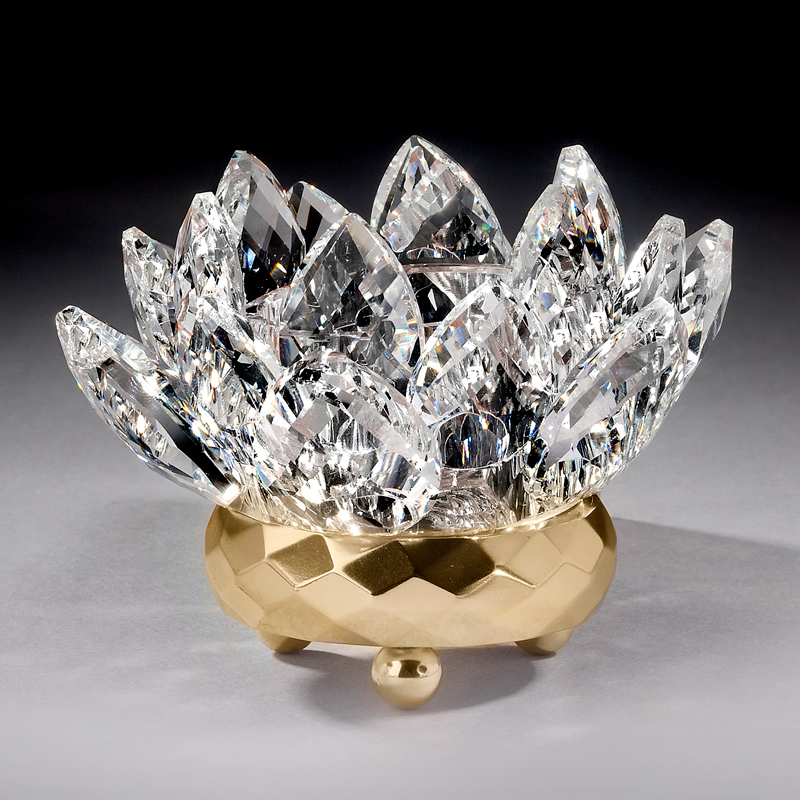 Crystal Lotus Votive Holder - Gold