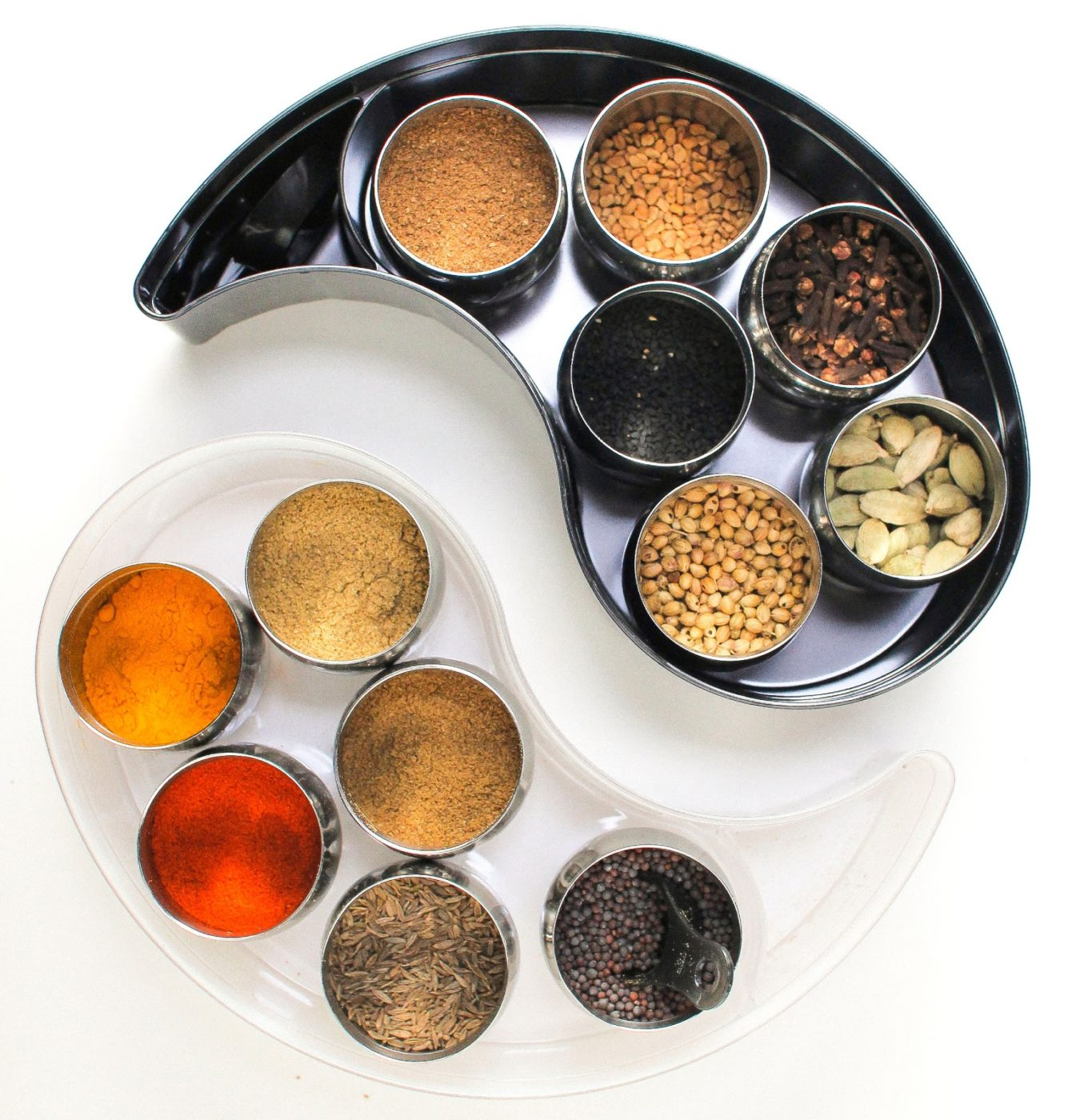 GitaDini Yin Yang Storage Bin Set with stainles steel containers and spices